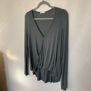 Dark green long sleeve LUSH top